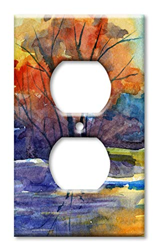 Art Plates OVER SIZED Outlet Cover/OVERSIZE Outlet Switch Plate - River Watercolor Painting