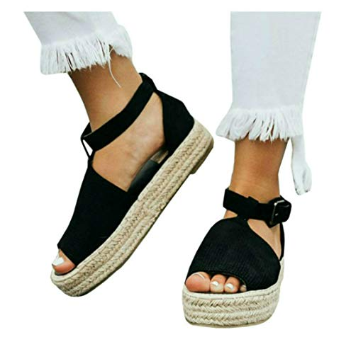 LAICIGO Womens Flatforms Sandals Studded Summer Espadrille Platforms Shoes Size