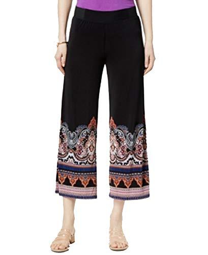 (INC Womens Petites Printed Pull On Cropped Pants Black PL)