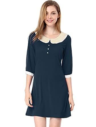 Allegra K Women Peter Pan Collar 3/4 Sleeve Casual Short Shift Dress, Small, Dark Blue
