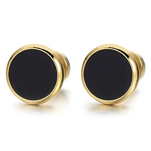 6MM Mens Womens Gold Black Stud Earrings Stainless Steel Illusion Tunnel Plug Screw Back, 2pcs (Studs And Earrings Black Gold)