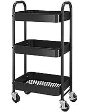 Simple Trending 3-Tier Metal Rolling Storage Cart, Utility Organizer Cart Storage Shelves on 2 Lockable Wheels for Kitchen Bathroom