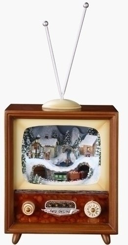 Retro Action Musicals by Roman Action Musical Lighted TV Train 5-1/2-Inch