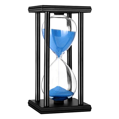 Hourglass Timer 30/60 Minutes Wood Sand Hourglass Clock for Creative Gifts Room Decor Office Kitchen Decor Birthday Christmas Gift (30 min, Blue)