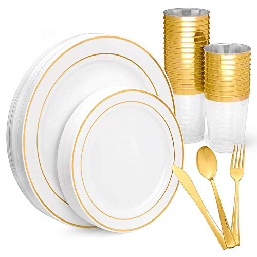 Gold Rim Disposable Plastic Plates, with Gold Cups, Spoons, Forks & Knives, Elegant 150 Piece Dinnerware Set For Wedding or Party]()