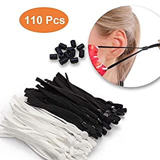 110 PCS Elastic Cords with Adjustable Buckle and 10 cord locks -elastic bands for sewing 1/4-inch-High Stretch String elastic Thread Rope for DIY Crafts -Earloop Jewelry clothes Sewing Making Supplies
