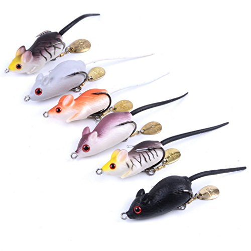 Aorace 6pcs lot soft rubber mouse fishing for Mouse fishing lure