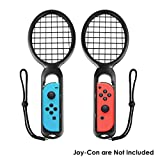 Wellwerks Tennis Racket for Nintendo Switch Joy-Con Controllers, Joy Con Grips for Realistic Experience of Mario Tennis ACES, N-Switch Game Accessories as Gifts for Kids and Adults, Twin Pack (Black)