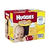 Huggies Little Snugglers Diapers Size 1(up to 14 Lbs),108 Count by Kimberly Clark Corp.
