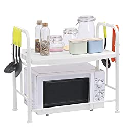 LANGRIA 2 Tier Kitchen Microwave Shelves Microwave Storage Shelf Wire Shelf  With 2 Height ...