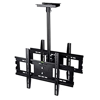 UNHO Dual Screen Rotating and Tilting Ceiling TV Mount for Double LCD LED Monitor for Samsung, Sony, LG, Sharp,Vizio, Haier, Toshiba, Sharp 32, 40, 42, 48, 50, 55, 60, 65, 70, 75 Inch TVs