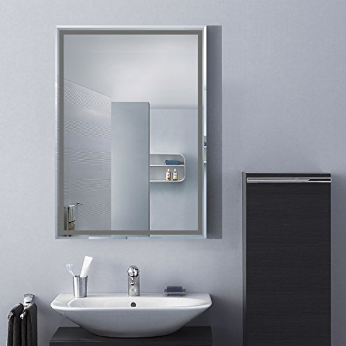 DECORAPORT 28''20'' Frameless Wall-mounted Bathroom Silvered Mirror Rectangle Vertical Vanity Mirror (A-C226B) by Decoraport