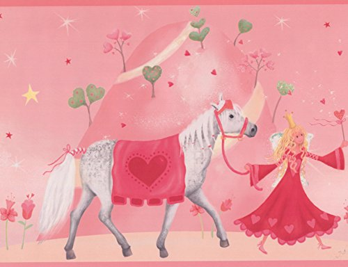 Princess Castle Horse Red on Pink Wallpaper Border for Kids, Roll 15' x 9''