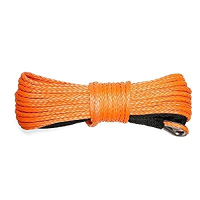 """IdentikitGift Synthetic Winch Rope?49'x1/4"""" 7000+LBs Winch Rope Line Cable with Sheath Winches for Winches SUV ATV UTV KFI Vehicle Boat Ramsey Car,Orange. …"""