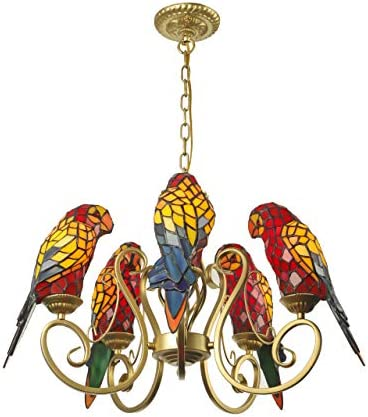 BAYCHEER Parrot Chandeliers Tiffany Pendant Lamp 5 Lights Chain Adjustable Industrial Lighting Stained Glass Shade Bird Ceiling Pendant Light Hanging Fixture