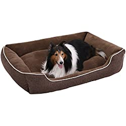 SONGMICS Plush Dog Bed Sofa with Detachable and Machine Washable Cover,Brown UPGW12CC
