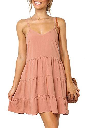 NICIAS Womens Sleeveless V Neck Tunic Dress Casual Loose Swing Shift Dresses (01_Pink, - Shift Top
