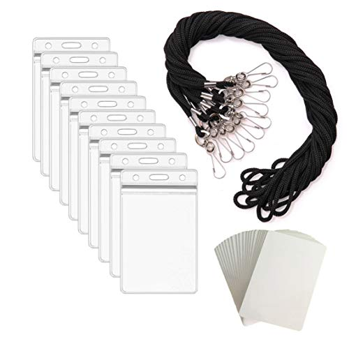 Lanyard with ID Badge Holder Name Tags Card Labels Lanyards String Keys Custom Necklace J Hooks Clip Black Vertical 55 Sets Plastic Sleeve Cover Clear Waterproof Nametags Protectors Nurse School -