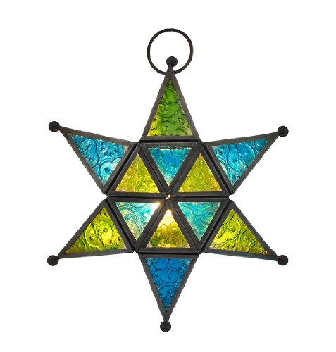 Blue / Green Stained Glass Six Pointed Star Hanging Tea Light Lantern 9 1/2 Inch