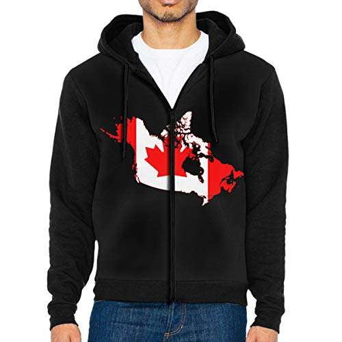 LD6DBGK Canada Flag Map Men's Zipper Hoodie Sweatshirt Winterwear Black