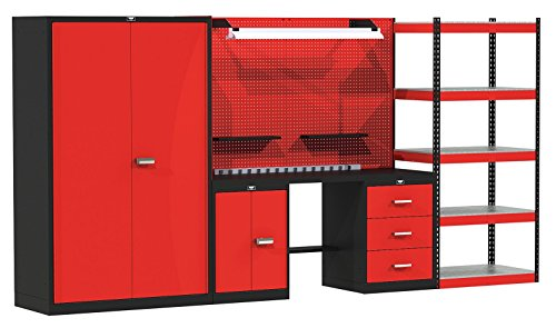 (Hallowell FKMIXEDSTOR-LG-S 168 W x 24 D x 78 H in. Fort Knox MIXED STORAGE Modular Workbench System With Steel Top - Black and Red)