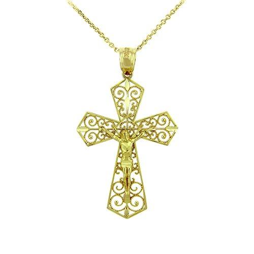 14k Yellow Gold Filigree-Style Cross Pardon Crucifix Pendant Necklace, 22