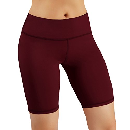 ODODOS Power Flex Women's Tummy Control Workout Running Shorts Pants Yoga Shorts With Hidden Pocket, Wine, X-Large