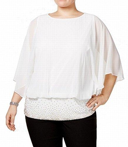 Bead Blouse Embellished (MSK Bead Embellished Hem Women's Plus Blouse Ivories 2X)