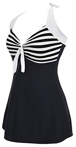 Woman One Piece Bettydom Skirt Retro With Design e Style Dress Black Swimsuit gwFqd5q