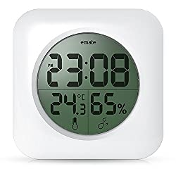 Fashion Waterproof Digital Bathroom Shower Clock with big LCD Display Suction Cup Wall Clock Tabel Clock for Living Room Kitchen Office Bedroom Hotel(White)