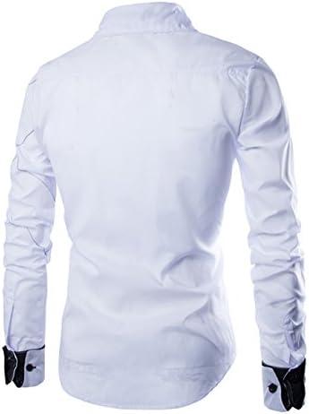 カジュアルシャツ メンズ 長袖 ステッチ デザイン レギュラーカラー スリムフィット カットソー 3色選択 S ~ XXL 【日本向けサイズ仕様】