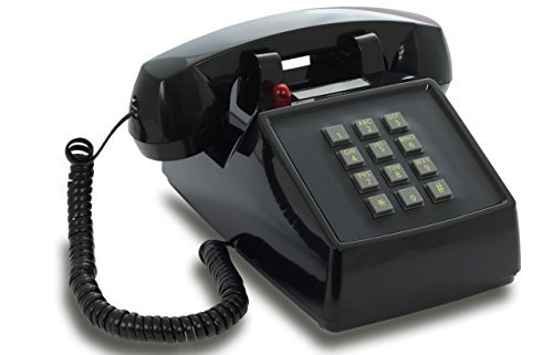 OPIS PushMeFon cable: 1970s inspired fixed-line push-button telephone with classic metal bell ringer (black) -