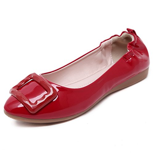VogueZone009 Womens Soft Material Pointed Closed Toe Pull-On Flats-Shoes with Bowknot, Red-Buckle, 36