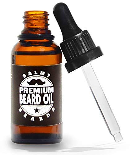 Balmy Beards Premium Beard Oil for Growth – 100% Natural Oils Leave-In-Conditioner, Styles and Softens Hair, Hydrates and Mosturizes Skin