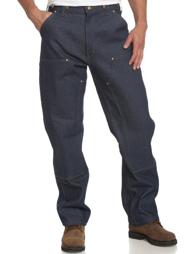 Carhartt Men's Utility Double Front Logger Dungaree,Denim,34 x 32 (Heavy Duty Work Pants)
