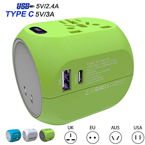 Universal Travel Adapter, Worldwide All in One Adapter with Fast Charging 5V/2.4A USB 5V/3AType C Ports and Multiple Socket,International Wall Charger AC Plug for US EU UK AU Cell Phone Tablet Laptop