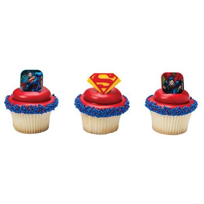 Superman Shield Cupcake Rings - 24 pc