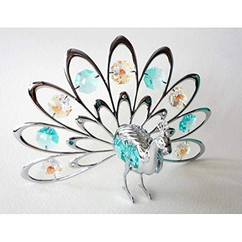 - Crystocraft Fan Out Peacock Ornament Swarovski Crystals -Bird Figurine Gift