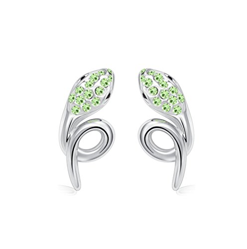 Winter's Secret Silver Diamond Accented Stereoscopic Auspicious Snake Green Crystal Stud Earring