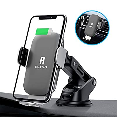 KAPPLUS Wireless Car Charger Mount,10W Qi Fast Charging Auto-Clamping Car Holder,Windshield Dash Air Vent Phone Stand for iPhone 11/11 Pro Max/Xs Max/Xs/X/XR/8+,Samsung S10/S10/S10+/S9/S9+/S8+