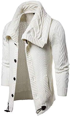 【爱莉セレクトショップ】ホーンボタン ニットカーディガン メンズ 長袖 ショールカーディガン 大きいサイズ アウター 秋冬 セーター ケーブル編み