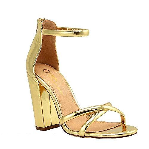 Women's Strappy Chunky Block High Heel Cross - Formal, Wedding, Party Simple Classic Pump (6, Gold Metallic)
