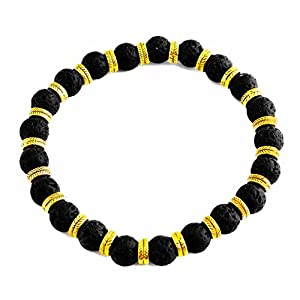 Perepaix RAVE Mens Bracelet Shamballa Black Lava Beads with Gold Feather Charms