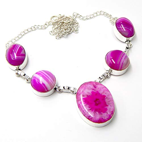 Pratik-Jewel Botswana Agate 925 Sterling Silver Plated Handmade Jewelry Necklaces 23 ()