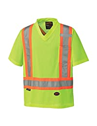 Pioneer V1050660-M High Visibility Work Safety T-Shirt, Micro Mesh, Yellow-Green, M