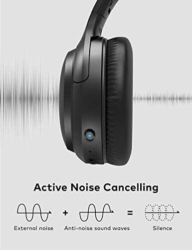Active Noise Cancelling Headphones, Boltune Bluetooth 5.0 Over Ear Wireless Headphones with Mic Deep Bass, Comfortable Protein Earpads 30H Playtime for Travel Work TV PC Cellphone 41Mar7HtKhL