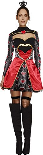 Smiffy's Women's Fever Queen Of Hearts Costume, Dress, Attached Underskirt and Mini Crown, Once Upon a Time, Fever, Size 6-8, 43479 (Toddler Queen Of Hearts Halloween Costume)