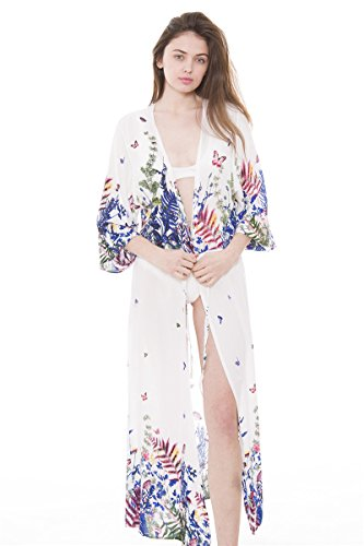 BYOS Womens Soft Lightweight Retro-Inspired Printed Open Front Maxi & Knee Length Kimono Robe Cardigan Beach Cover-up with Tassels Fringes , Many Styles (White Daydream Butterflies Floral ()