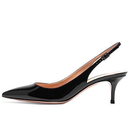 Kmeioo Kitten Heels Pumps, Pointed Toe Slingback Sandals Ankle Strap Low Heel Pumps Evening Party Wedding Shoes 6.5CM-Black-(US 11M) (Black Leather Mid Heel Pump)