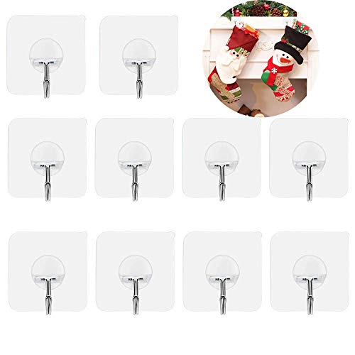 Fotosnow Adhesive Hooks Wall Hangers Without Nails Hooks 15 Pound(Max) Transparent 180 Degree Rotating Ceiling Hooks Reusable Seamless Hooks No Scratch Hooks,Waterproof and ()